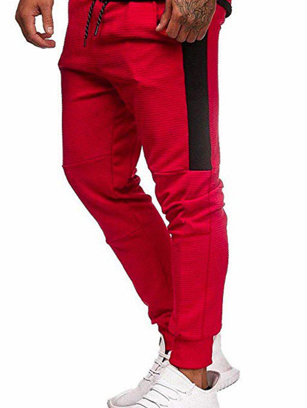 Pantalon de Jogging Jointif en Blocs de Couleurs à Cordon - Rouge XS