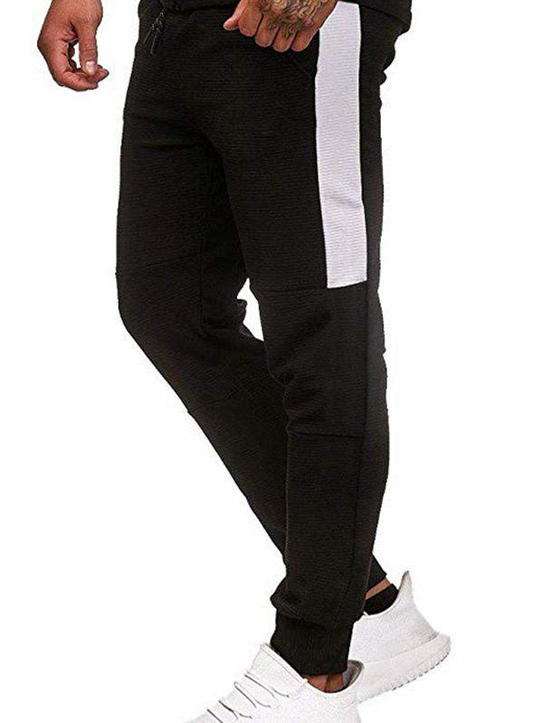 Pantalon de Jogging Jointif en Blocs de Couleurs à Cordon - Noir XS