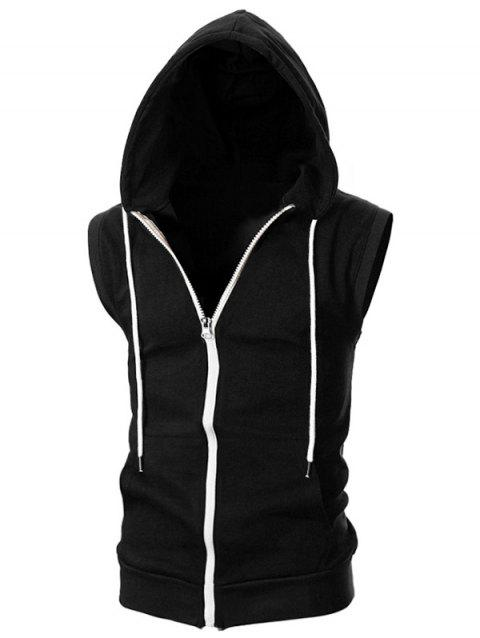 Solid Color Zipper Sport Sleeveless Hoodie - BLACK XL
