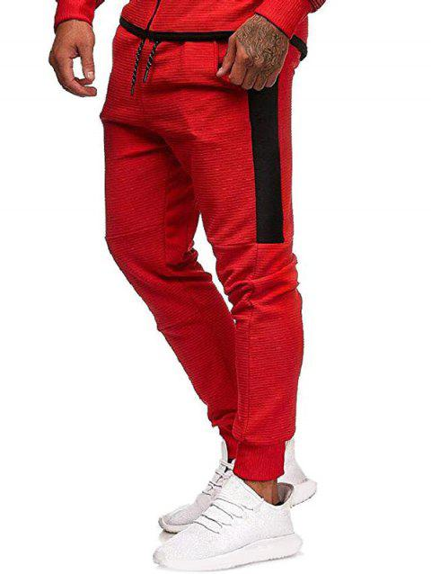 Contrast Side Leisure Jogger Pants - RED XS