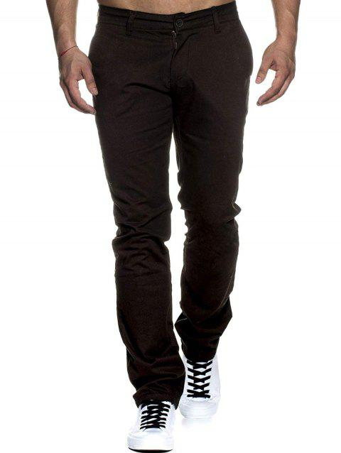 Solid Color Casual Zip Fly Pants - BLACK XS