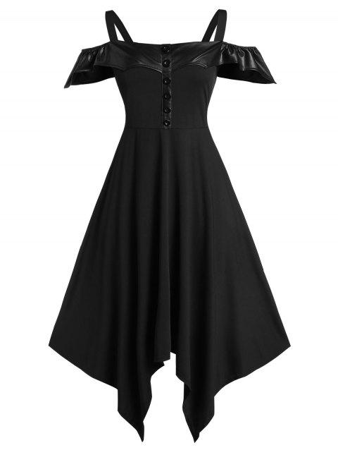 Plus Size Solid Cold Shoulder Asymmetrical Dress - BLACK 1X