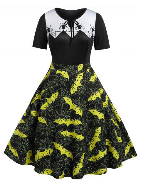 Plus Size Vintage Bat Spider Web Print Halloween Dress - BLACK 5X