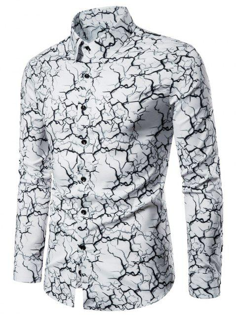 Marble Graphic Print Long Sleeve Button Up Shirt - WHITE M
