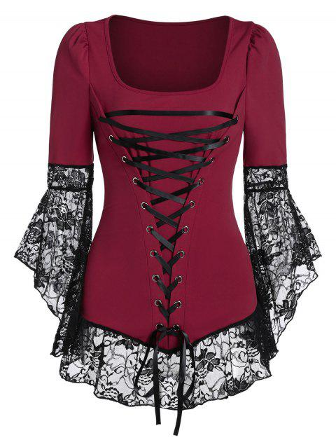 Lace Sheer Flare Sleeve Square Neck Lace Up Tee - RED WINE XL
