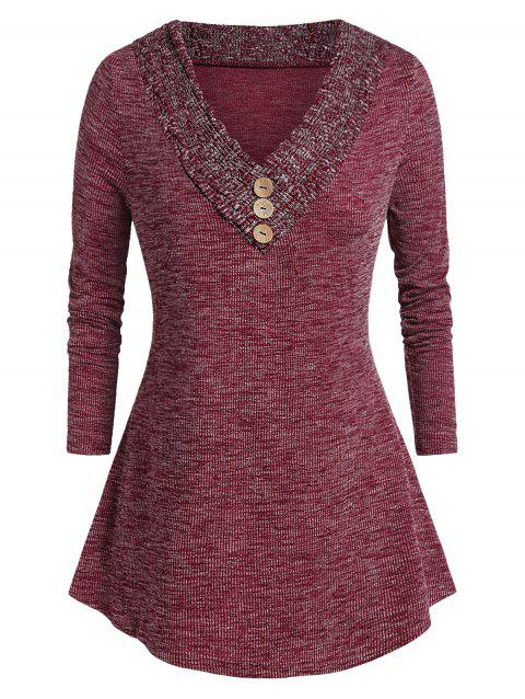Plus Size V Neck Space Dye Tunic Sweater - RED WINE 4X