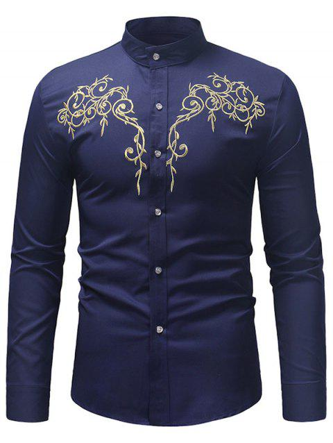 Embroidered Base Stand Collar Long-sleeved Shirt - MIDNIGHT BLUE XL