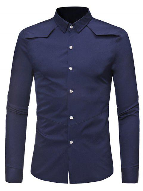 Solid Color Button Down Long-sleeved Base Shirt - MIDNIGHT BLUE XL