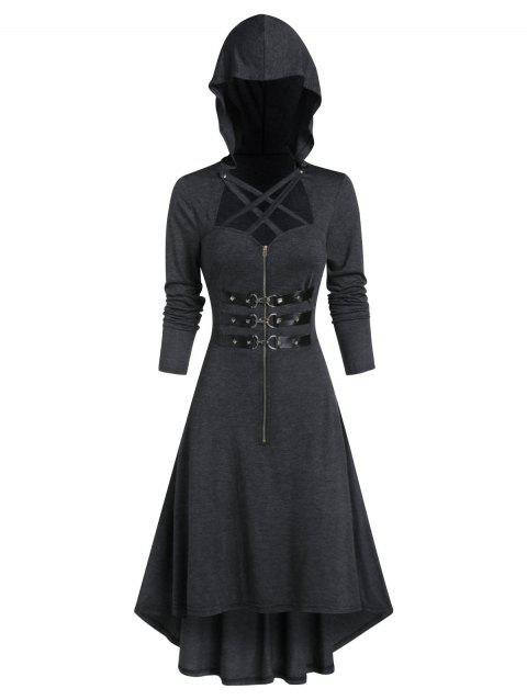 Hooded Lobster Buckle Strap High Low Gothic Dress - DARK GRAY L