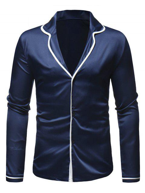 Color Spliced Button Up Long-sleeved Shirt - BLUE XL