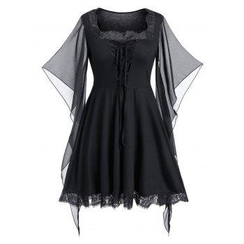 Plus Size Halloween Lace Up Butterfly Print Gothic Top
