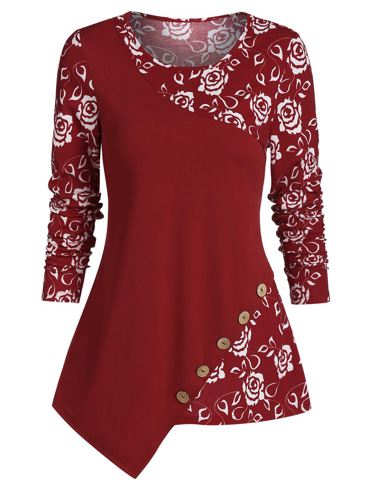 Asymmetrical Floral Print Long Sleeve T Shirt - RED WINE M