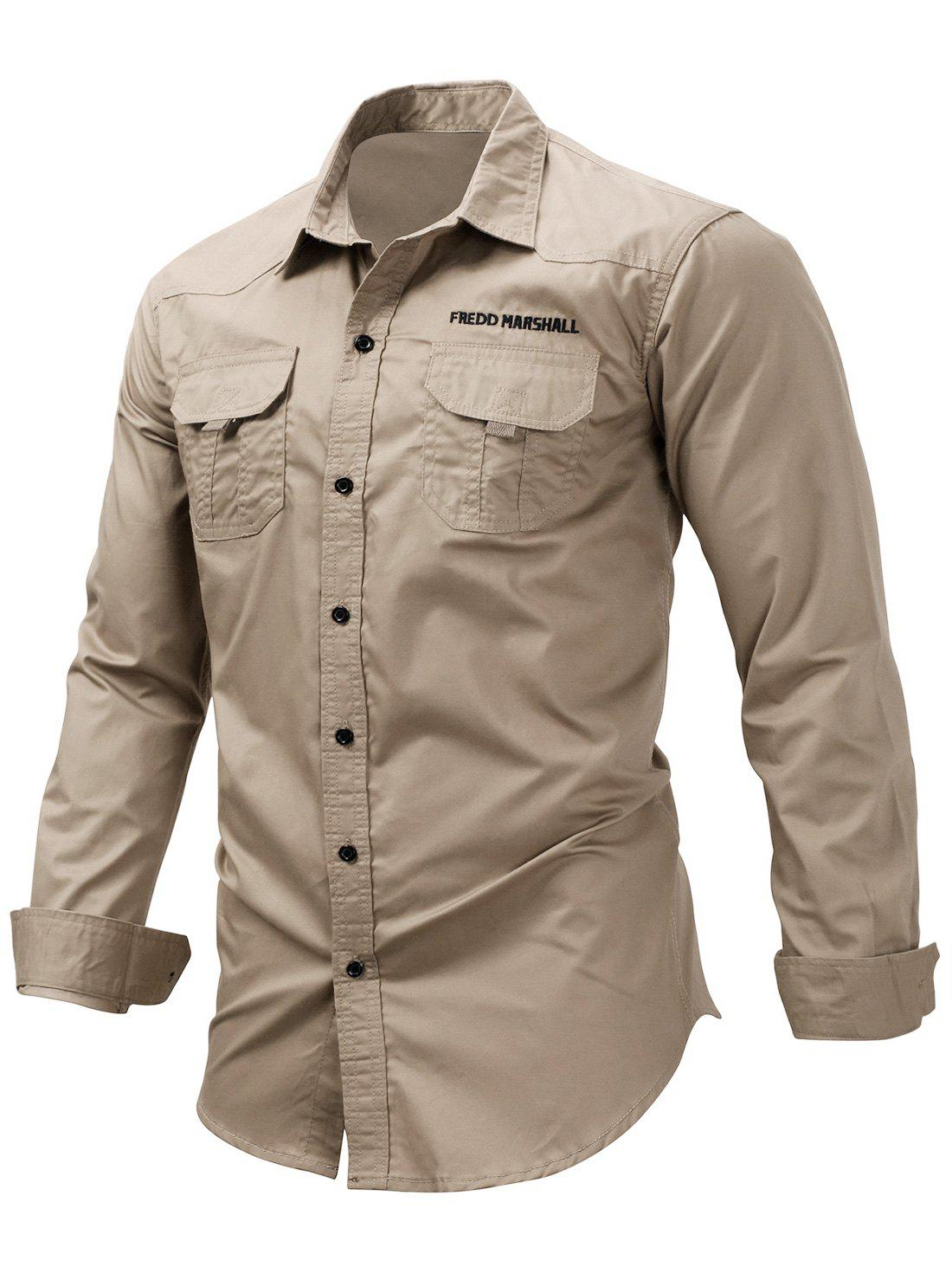 Letter Embroidered Button Up Double Pocket Cargo Shirt - DARK KHAKI M