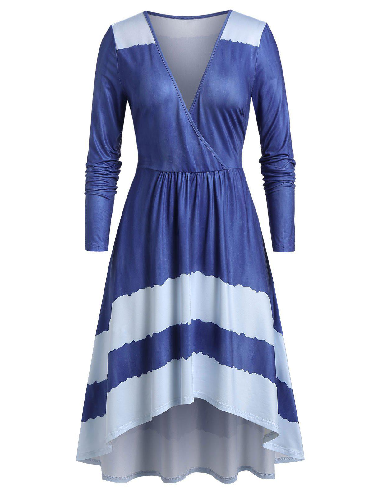 Plus Size Surplice Asymmetrical Long Sleeve Dress - CORNFLOWER BLUE M
