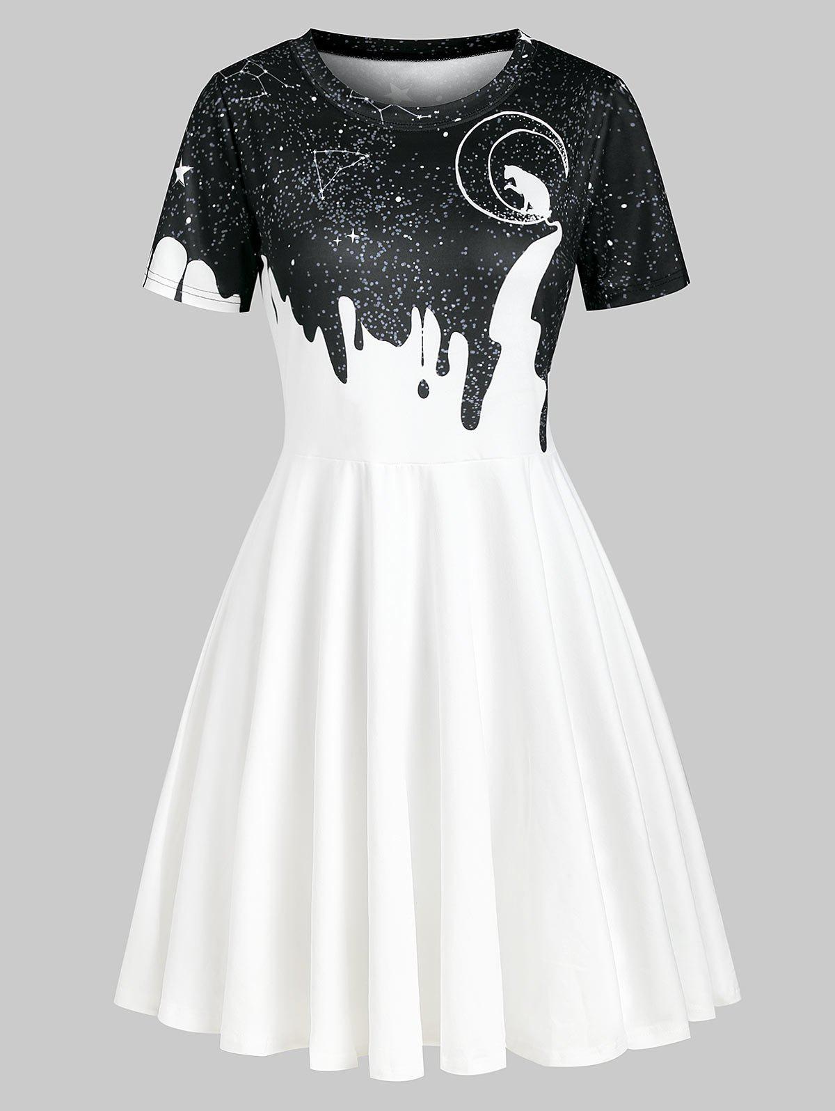 Cat Moon Galaxy Print Short Sleeve Dress - multicolor A 2XL