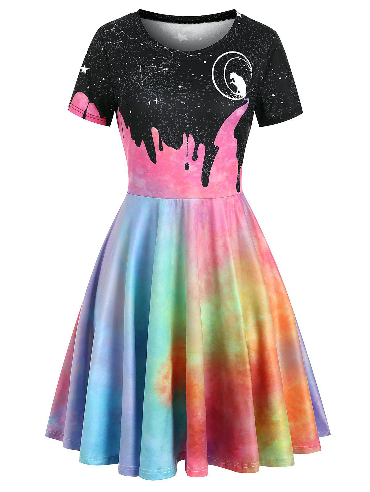 Cat Moon Galaxy Print Short Sleeve Dress - multicolor B L