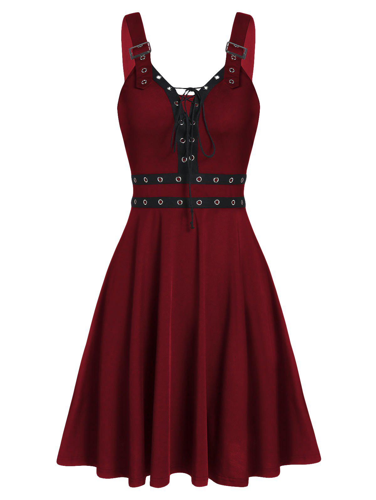 Lace Up Solid Fit And Flare Gothic Dress - RED WINE 2XL