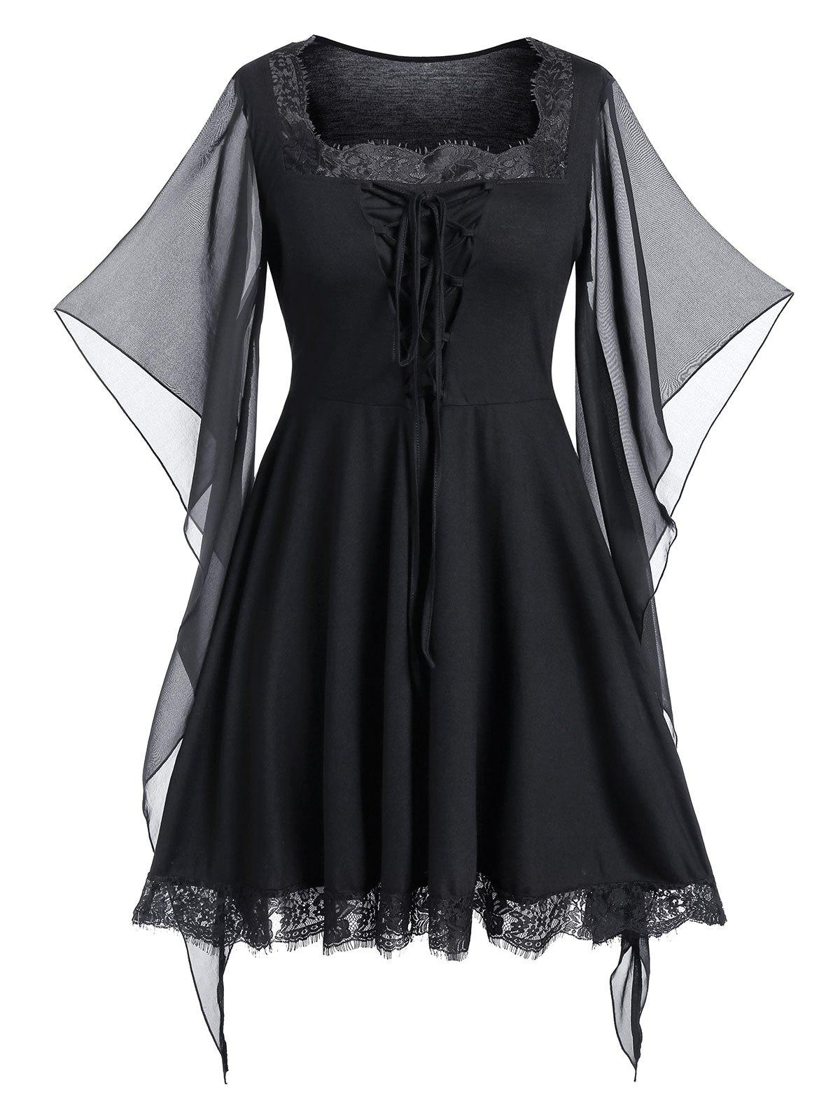 Plus Size Halloween Lace Up Butterfly Print Gothic Top - BLACK 4X