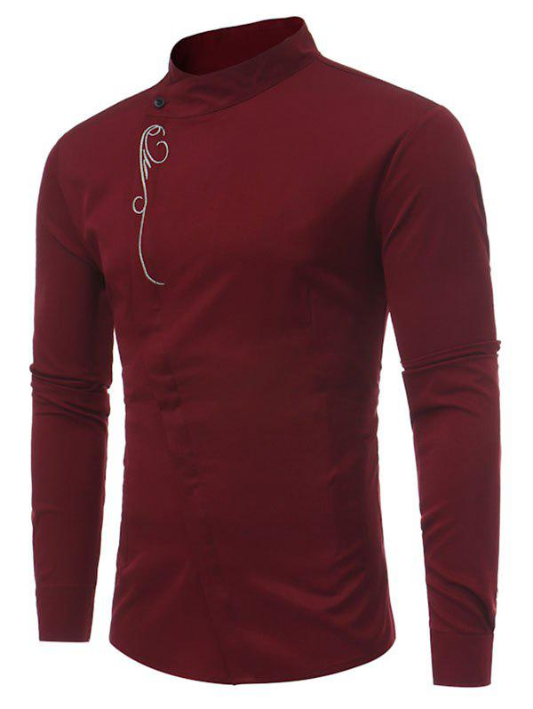 Embroidery Decoration Long-sleeved Casual Shirt - RED WINE XL