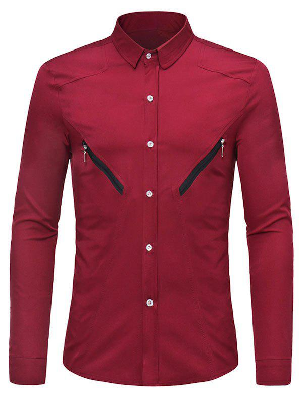 Solid Color Zipper Decoration Long-sleeved Shirt - RED WINE L