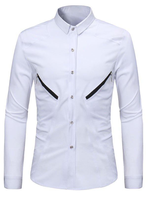 Solid Color Zipper Decoration Long-sleeved Shirt - WHITE S