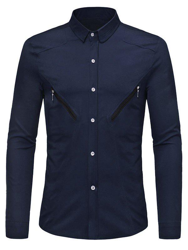 Solid Color Zipper Decoration Long-sleeved Shirt - MIDNIGHT BLUE M