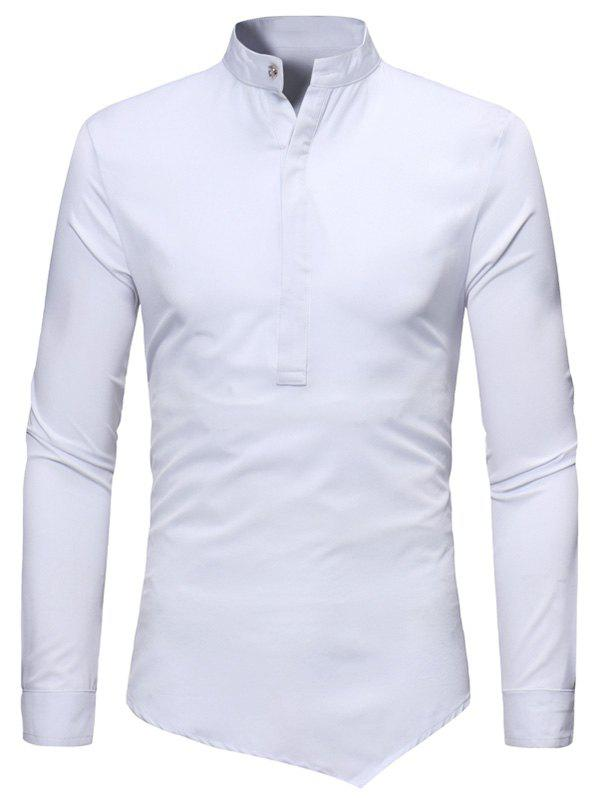 Solid Color Long Sleeves Asymmetrical Shirt - WHITE XL