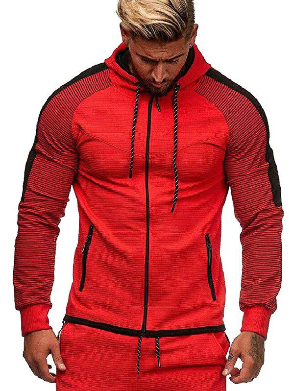 Two Tone Striped Sleeve Zip Up Hoodie - RED XL