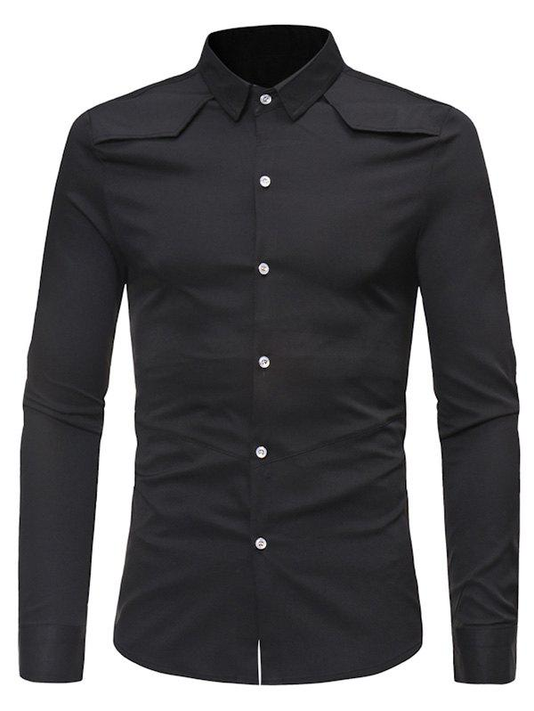 Solid Color Button Down Long-sleeved Base Shirt - BLACK XL