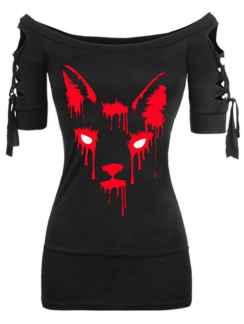 Plus Size Off The Shoulder Ladder Cut Gothic Halloween Tee - BLACK 2X