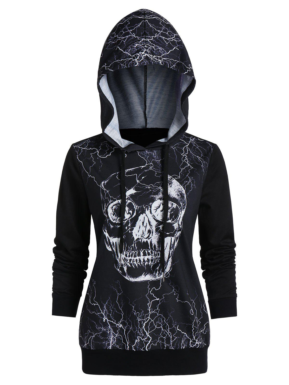 Printed Long Sleeve Tunic Hoodie - BLACK L
