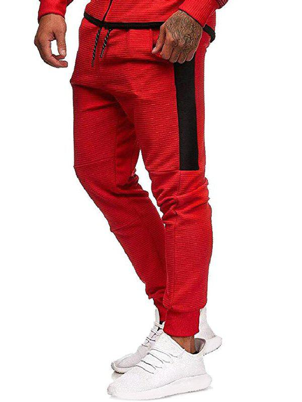 Contrast Side Leisure Jogger Pants - RED XL