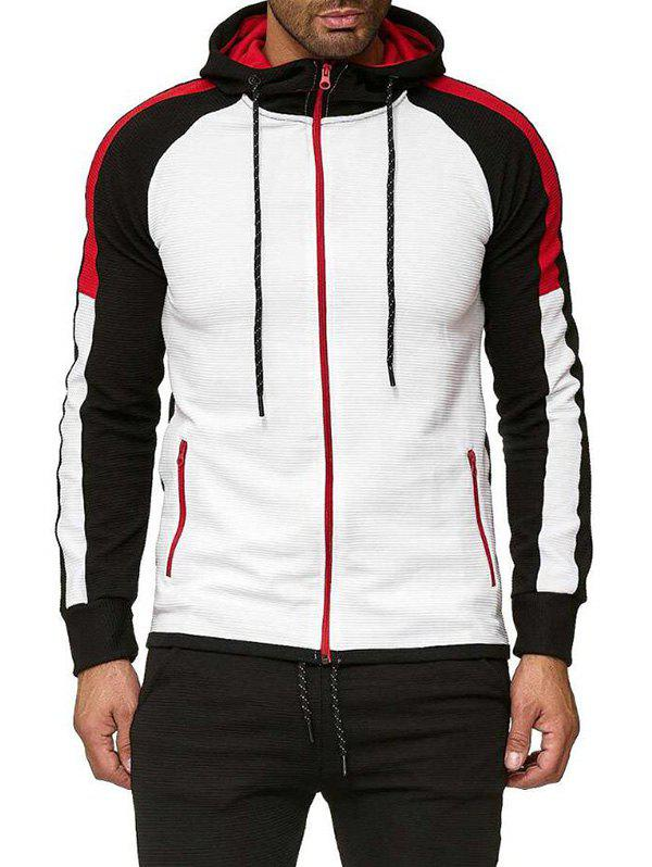 Color Block Leisure Front Zip Raglan Sleeve Hoodie - BLACK XL