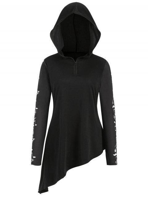 Plus Size Half Zipper Music Note Print Hoodie - BLACK 1X