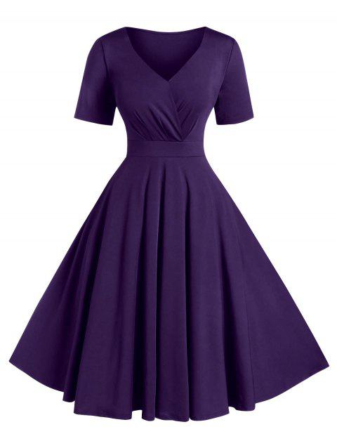 Plus Size Solid High Waist V Neck Vintage Dress - PURPLE IRIS 1X