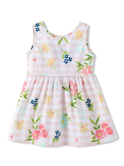 Girls Floral Striped Sleeveless A Line Dress - WHITE 90