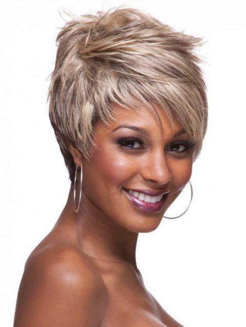 Short Inclined Bang Layer Colormix Straight Synthetic Wig - multicolor A