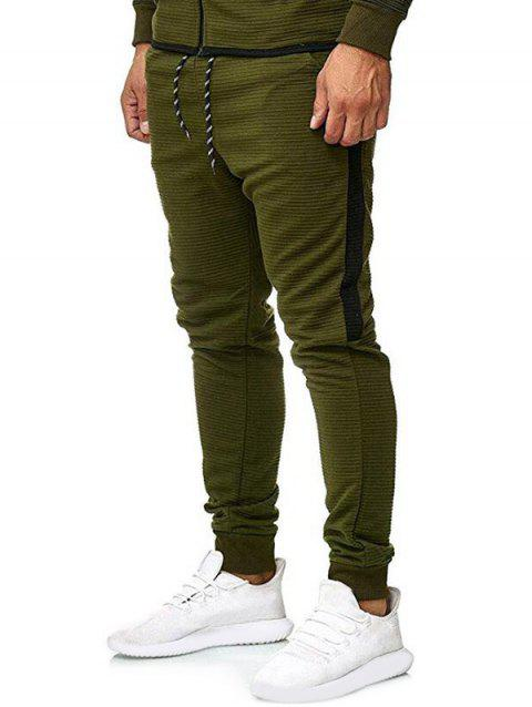 Contrast Side Leisure Jogger Pants - ARMY GREEN XL