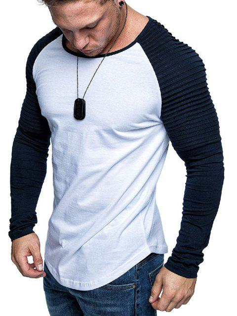 Pleated Shoulder Raglan Sleeve Long Sleeve Tee - multicolor G 2XL