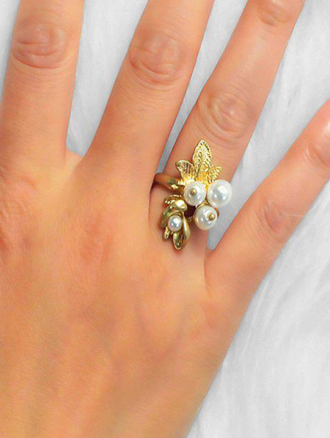 Faux Pearl Leaf Engraved Alloy Ring - GOLD