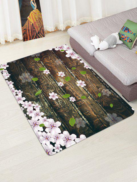 Wooden Board Flowers Patterned Water Absorption Area Rug - TAUPE W47 X L63 INCH