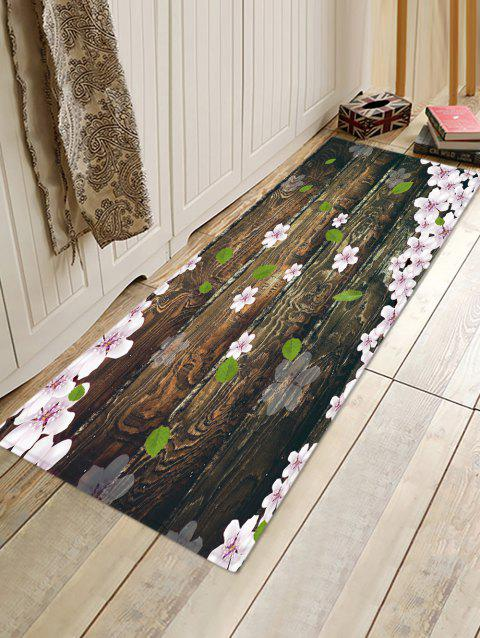 Wooden Board Flowers Patterned Water Absorption Area Rug - TAUPE W16 X L47 INCH