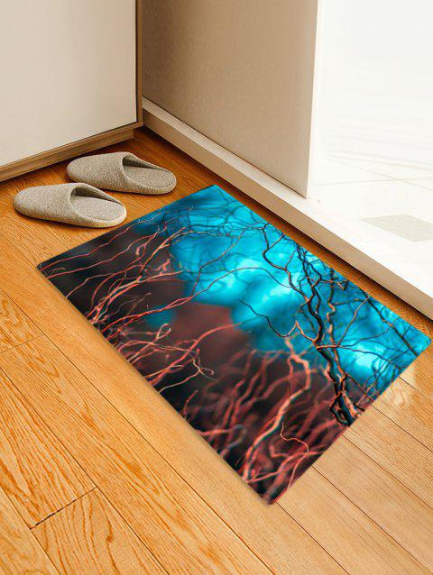 Contrast Branches Pattern Water Absorption Area Rug - MACAW BLUE GREEN W24 X L35.5 INCH