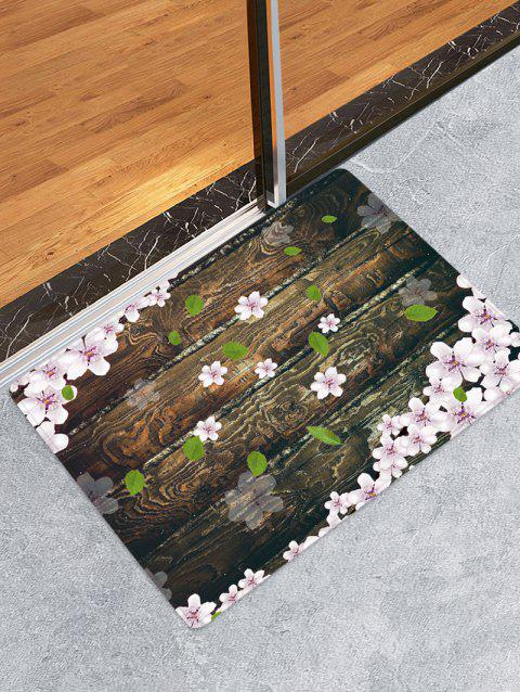 Wooden Board Flowers Patterned Water Absorption Area Rug - TAUPE W16 X L24 INCH