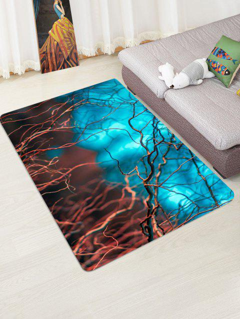 Contrast Branches Pattern Water Absorption Area Rug - MACAW BLUE GREEN W47 X L63 INCH