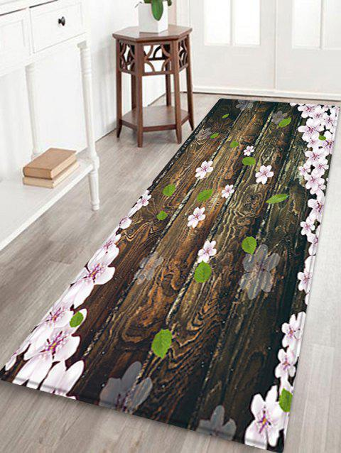 Wooden Board Flowers Patterned Water Absorption Area Rug - TAUPE W24 X L71 INCH