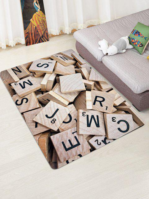 Letter Wood Block Pattern Water Absorption Area Rug