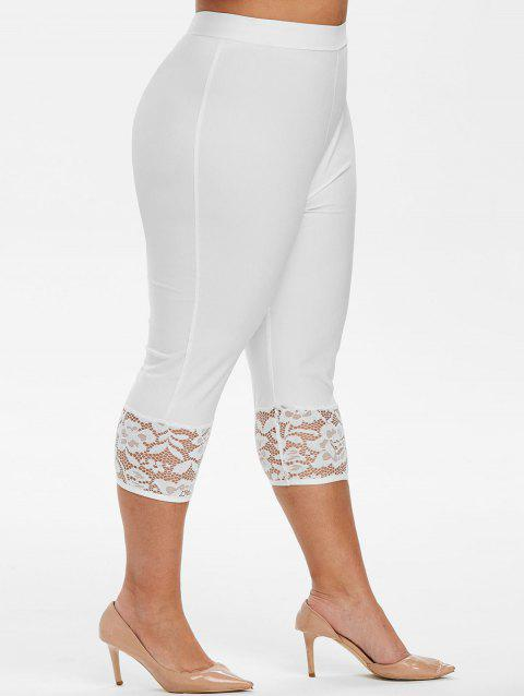 Capri Lace Panel High Waisted Plus Size Pants - WHITE 5X