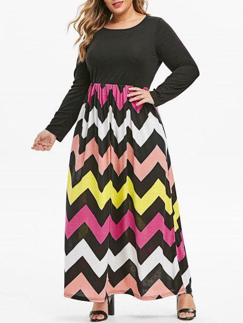 Colorful Zig Zag Seam Pockets Plus Size Maxi Dress - multicolor L