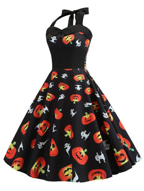Halter Ghost Pumpkin Print Shirred Halloween Dress - BLACK L